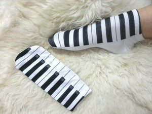 Princess sweet lolita socks cute creative printed socks music piano keyboard soft cotton ankle socks free size for 22-24cm