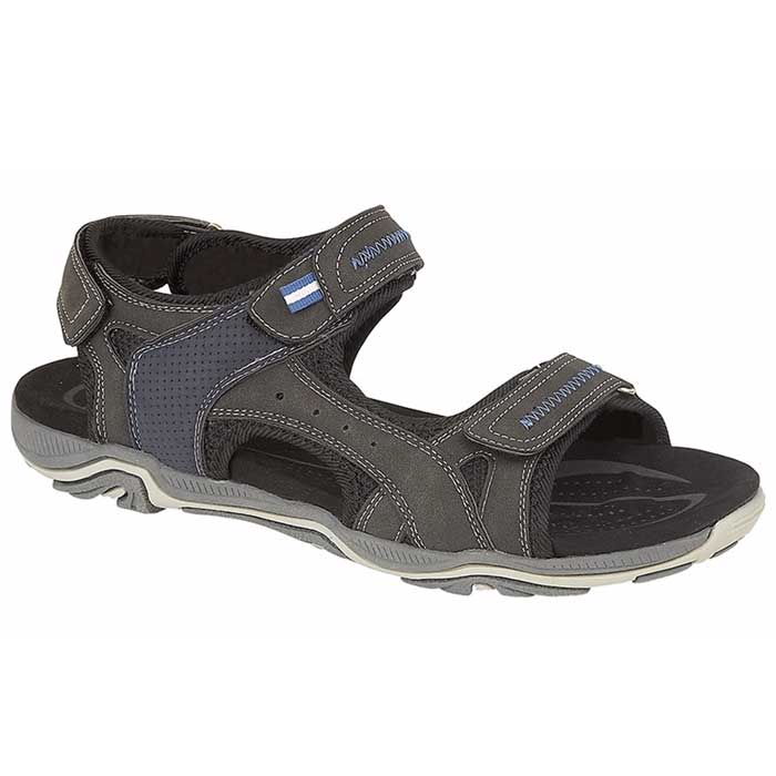 PDQ Men's Black Triple Adjustable Strap Sports Sandals