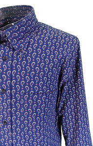 Tootal Paisley Print Shirt with Button Down Collar in Navy