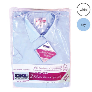 CKL Twin Pack Girls School Blouse Short Sleeve