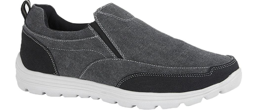 Dek Black Denim Canvas Slip On Shoes