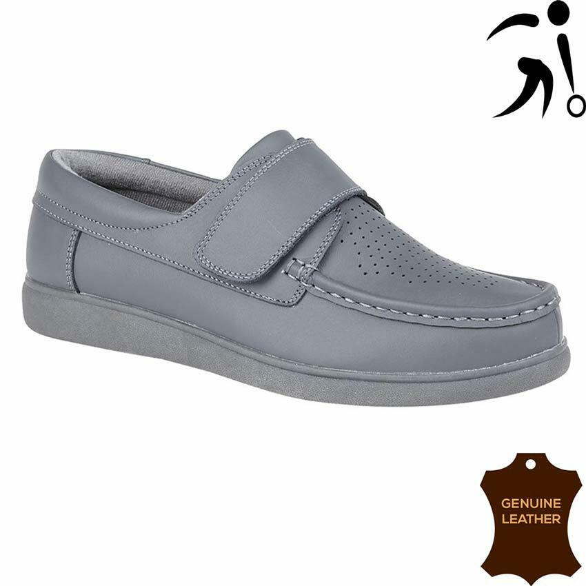 Dek Leather Grey Unisex Touch Fastening Bowling Shoes