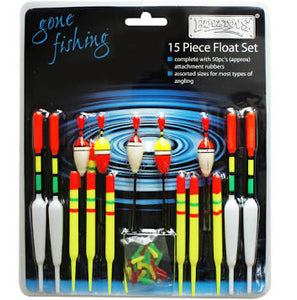 15 PIECE ASSORTED FISHING FLOAT SET & RUBBERS RY186