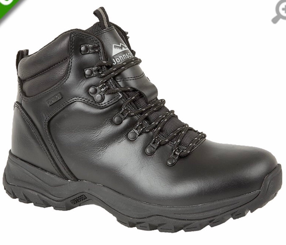 Johnscliffe PEN-Y-GHENT'  Black Smooth Leather Hiking Boot Jontex Waterproof