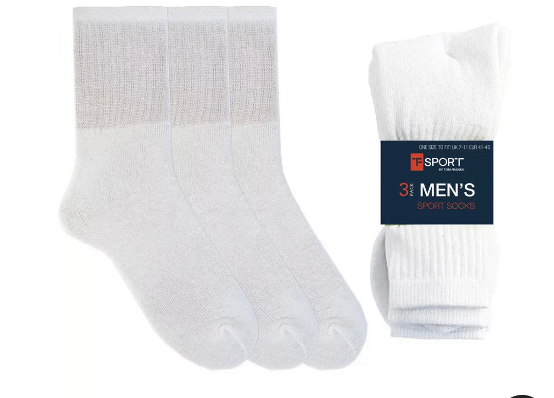 TOM FRANK MENS 3 PACK WHITE SPORT SOCKS   FREE  DELIVERY