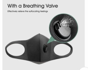 Face Mask Black with Breathing Valve FREE DELIVERY