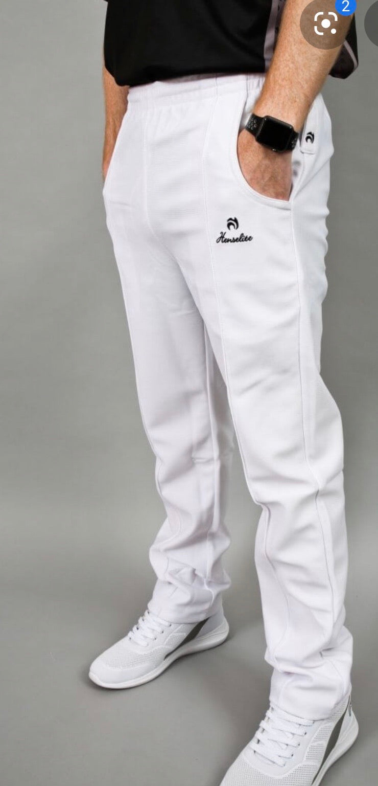 Henselite Unisex Sports White Bowls Trousers