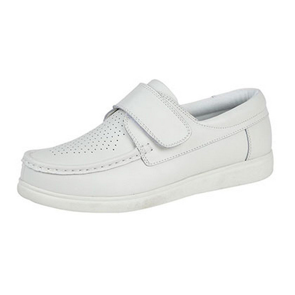 Dek Leather White Unisex Touch Fastening Bowling Shoes