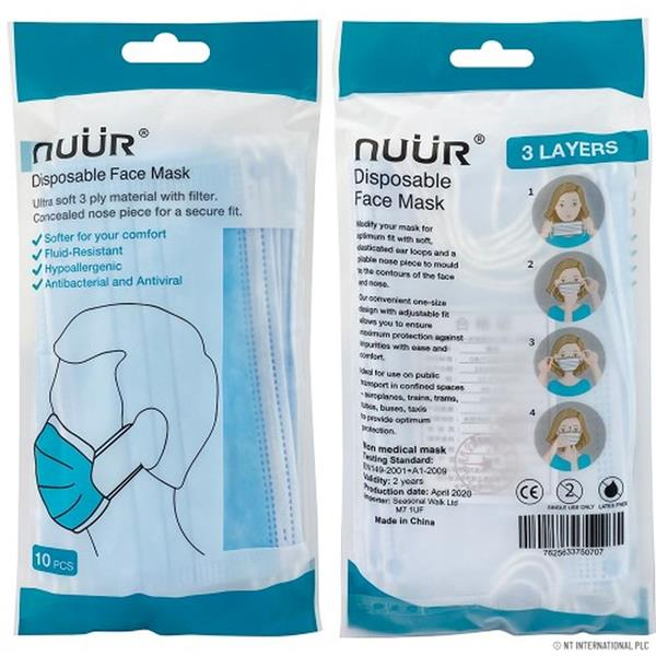Nuur 3 Ply Disposable Face Masks 10 Pack FREE DELIVERY