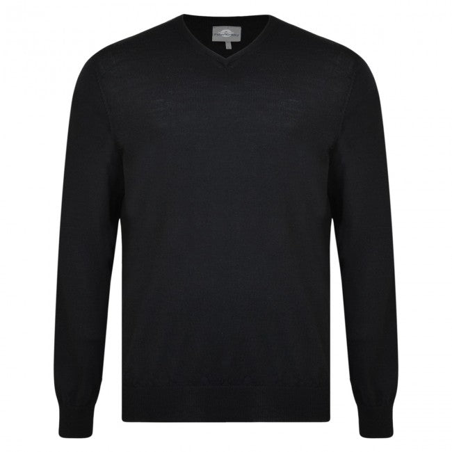 Peter Gribby Men's Merino V Neck Jumper Black