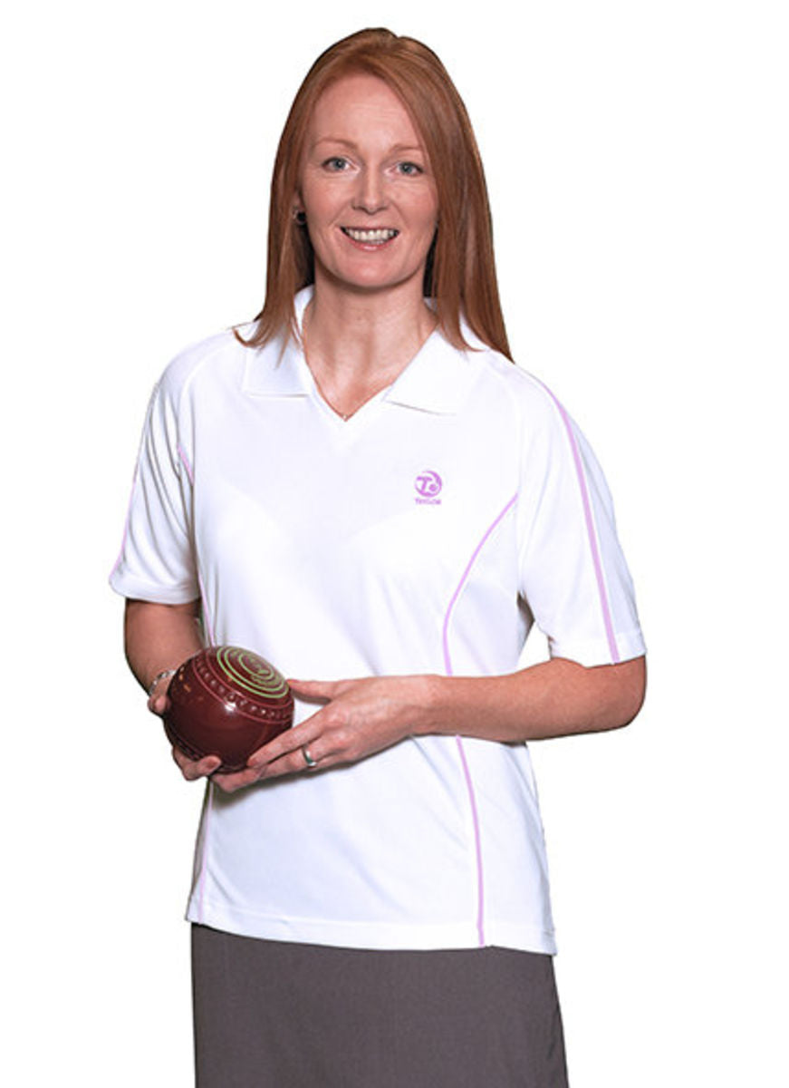 Ladies Tiree Sports Top - Pink Piping