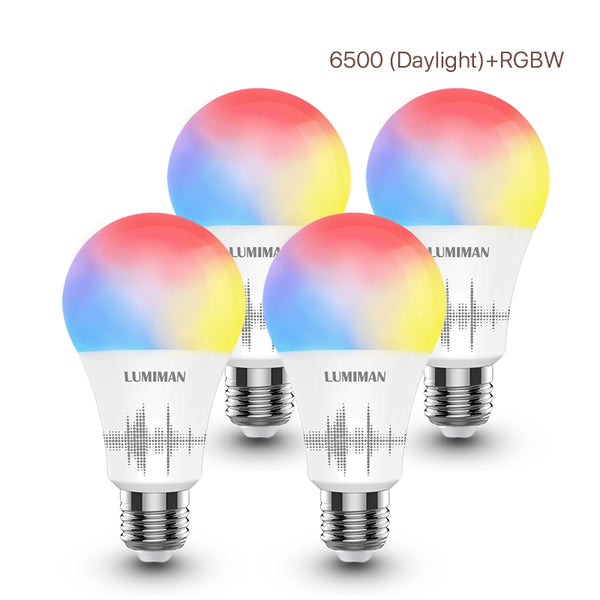 LUMIMAN Wifi Color Changing Smart LED Light Bulbs Voice Control A19 E26 4 Pack