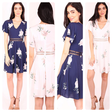 Load image into Gallery viewer, Sophia A-line Floral Dress in Navy & White