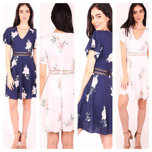Sophia A-line Floral Dress in Navy & White