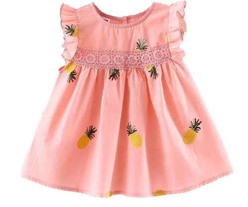 Baby Girl Frill Sleeve Pineapple Dress