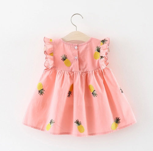 Tia & Sia | Pink & Pineapple Dress for baby girls | Online babies fashion