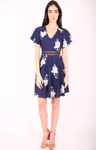 Sophia A-line Floral Dress in Navy