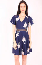 Load image into Gallery viewer, Floral A-Line Dress with Trim Details