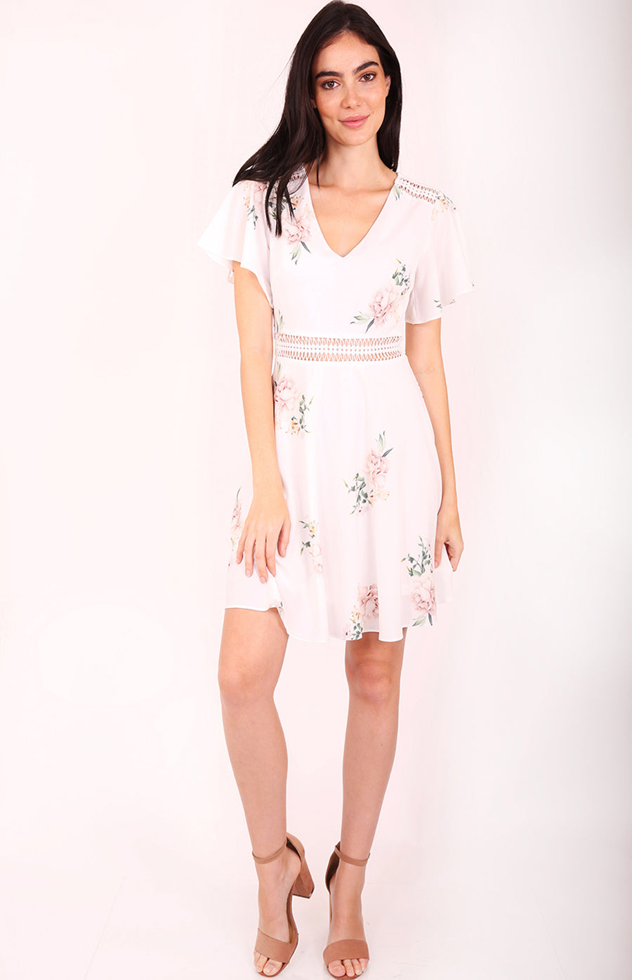 Sophia A-line Floral Dress in White