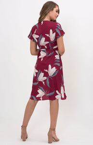 Floral Wrap Dress with Box Pleats