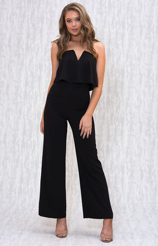 Tia & Sia | Stunning black shoulderless jumpsuit
