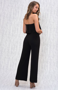 Strapless Jumpsuit with Wide Leg Hem