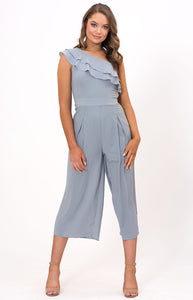 One Shoulder Ruffle Jumpsuit with Pleating Details