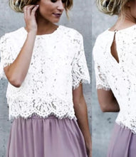 Load image into Gallery viewer, Floral Lace Short Sleeve Loose Top