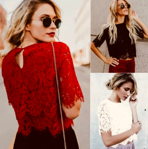 Tia & Sia | Ladies blouses | Women's lace top in red, black & white