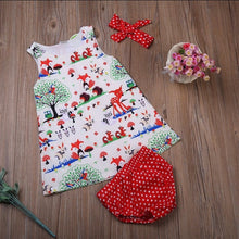 Load image into Gallery viewer, Baby Girl Animal Print Dress with Polka Dot Shorts and Headband