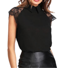 Load image into Gallery viewer, Tia & Sia | Ladies black blouse with lace sleeves | women's online fashion