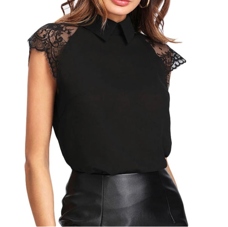 Tia & Sia | Ladies black blouse with lace sleeves | women's online fashion