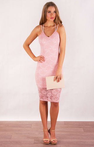 Floral Lace Double Strap Bodycon Dress