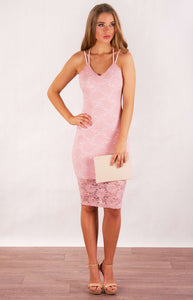 Tia & Sia | Beautiful lacy pink dress for women | Ladies lacy pink dress
