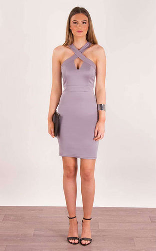 Cross Over Thick Strap Bodycon Dress