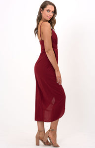 V-neck Midi Dress with Draping Details