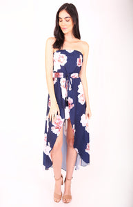 Strapless Floral Dress with Maxi Skirt Overlay