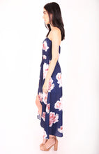 Load image into Gallery viewer, Strapless Floral Dress with Maxi Skirt Overlay