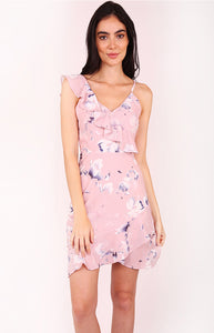 Floral Asymmetric Neckline Dress with Ruffle Skirt
