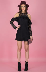 Tia & Sia | Ladies black off the shoulder dress