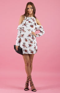 Cold Shoulder Floral Shift Dress