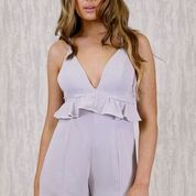 Plunge Neck Playsuit with Ruffle Detail