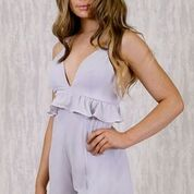 Load image into Gallery viewer, Plunge Neck Playsuit with Ruffle Detail