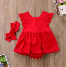 Load image into Gallery viewer, Baby Girl Red Ruffle Lace  Romper Dress and Head Tie