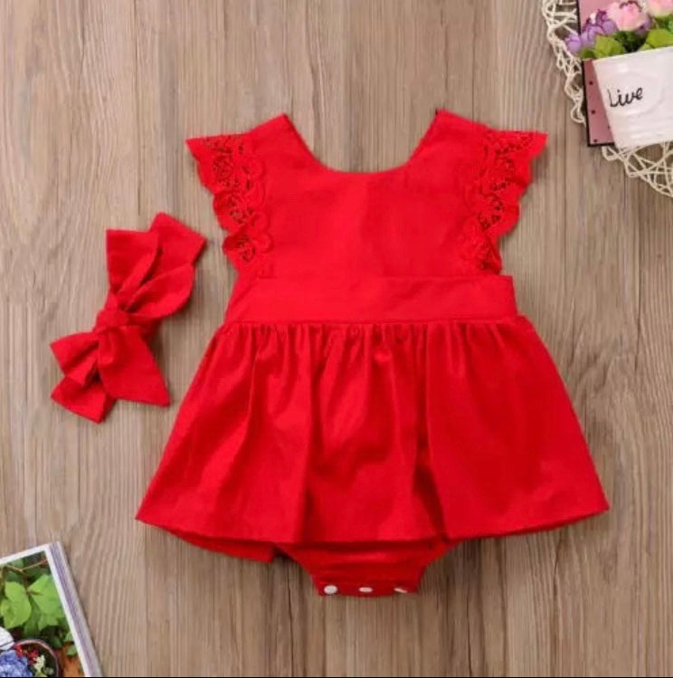 Baby Girl Red Ruffle Lace  Romper Dress and Head Tie