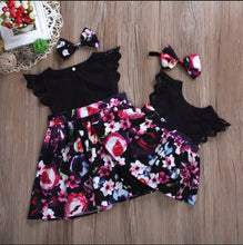 Load image into Gallery viewer, Baby Girl Floral Romper Dress and matching Headband