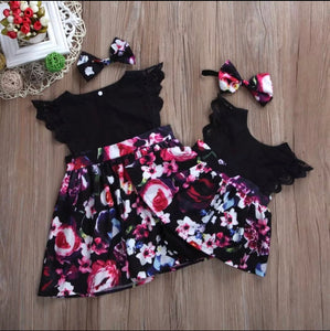 Tia & Sia | Baby Girl Clothing |Pink & Black floral romper for baby girls