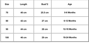 Tia & Sia | Online baby clothing | Size chart