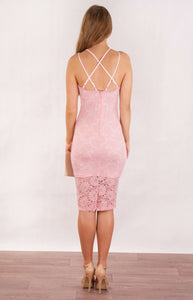 Tia & Sia | Stunning pink lace ladies cocktail dress