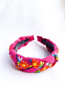 Embroidered Maria Headband- Hot Pink